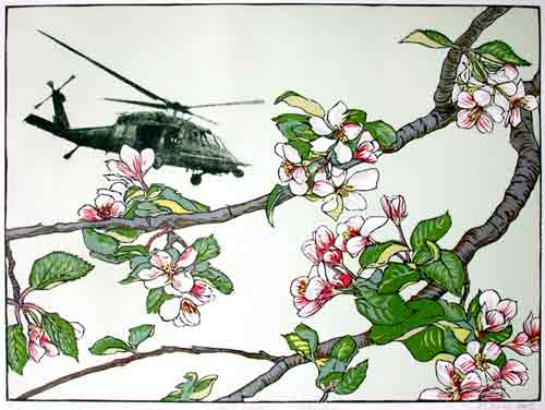 Image of relief print of apple blossoms with helicopter.