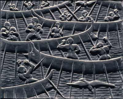 Image of numerous oared vessels with eyes full of belligerent males.